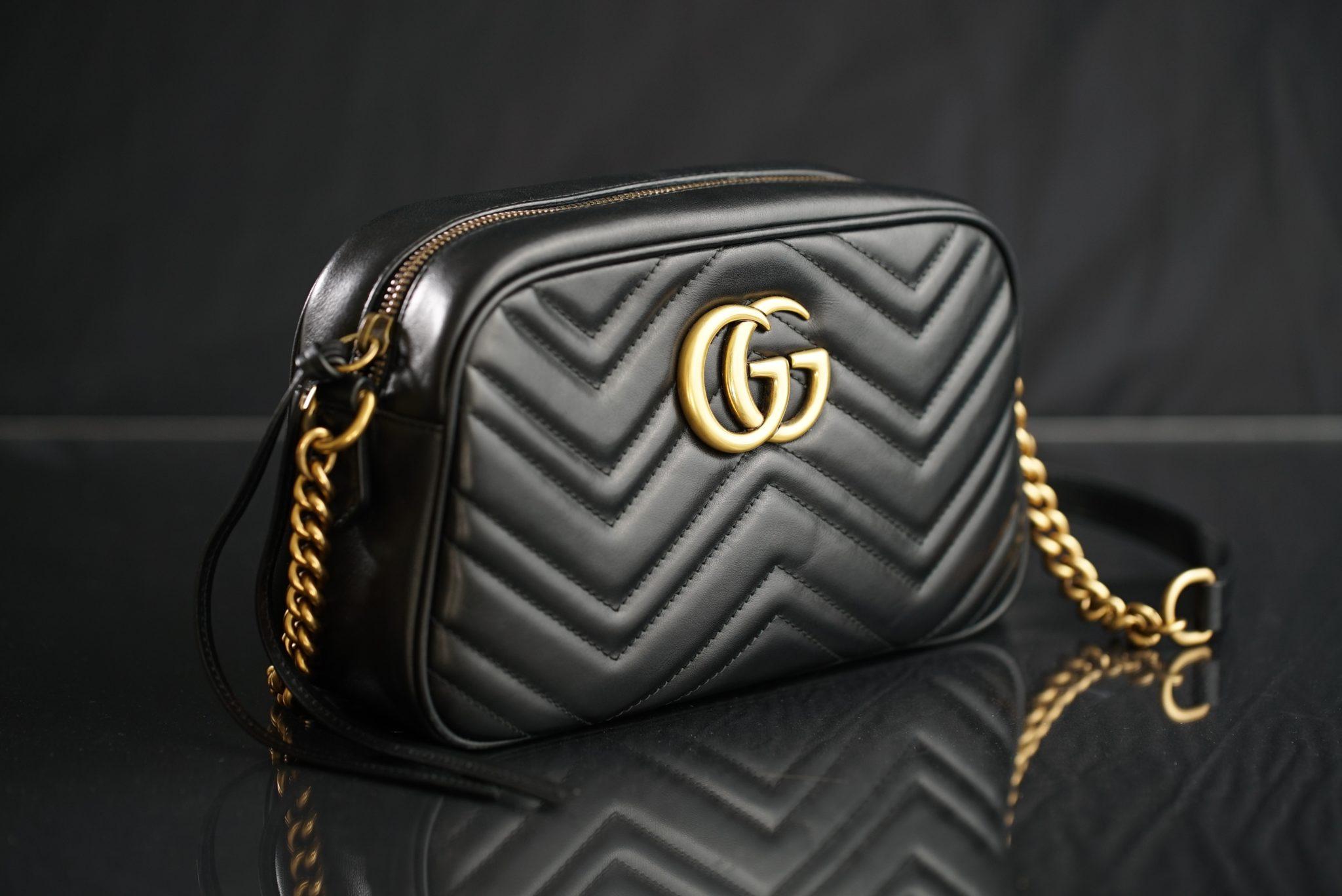 black Gucci leather shoulder bag