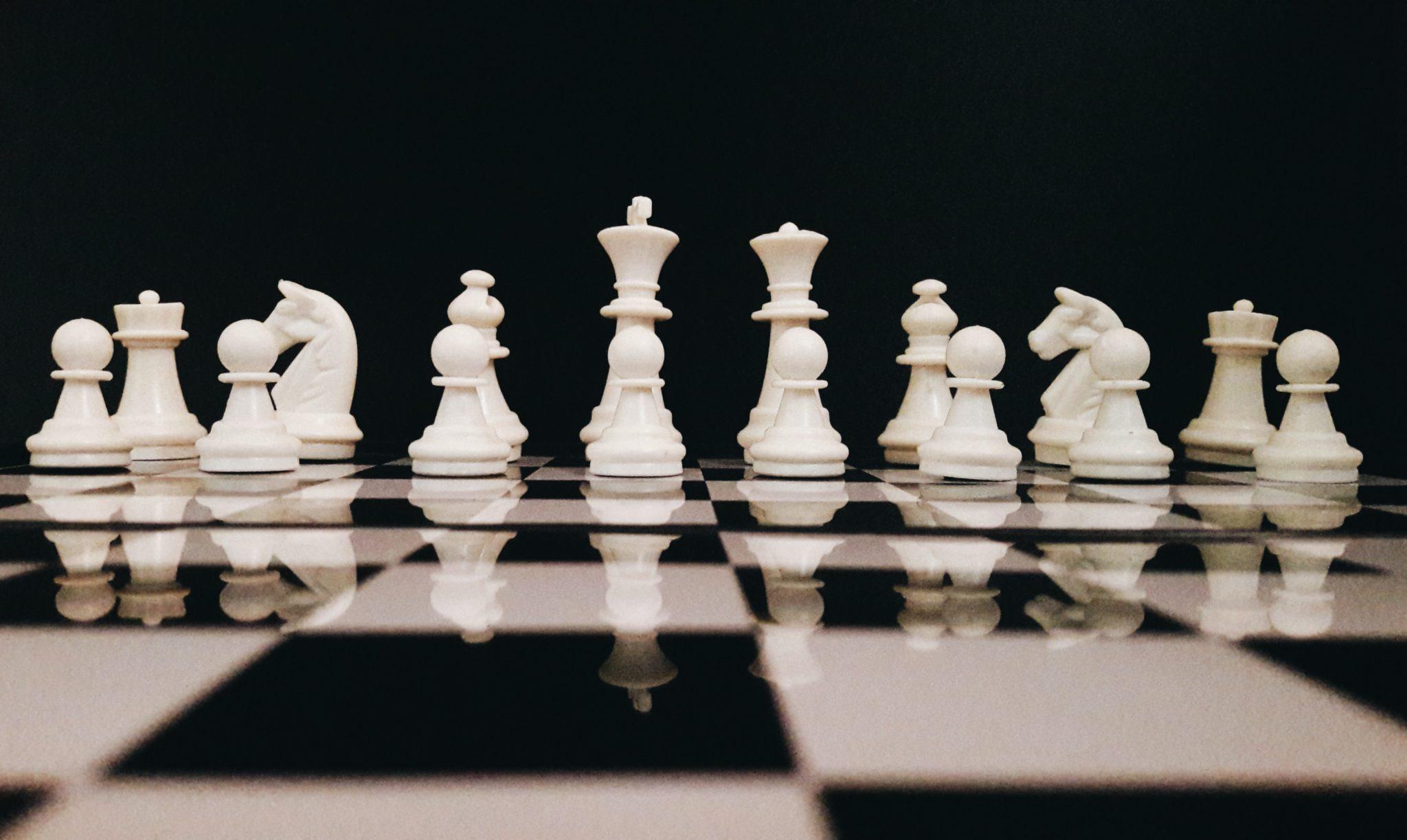 white chess game set